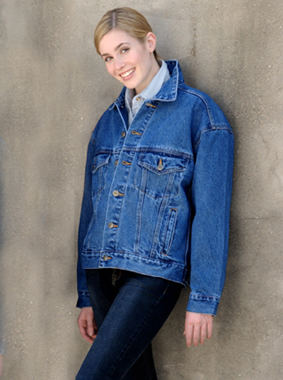 e9ebbc78077 The Denim Jacket 100% cotton, 14.5 oz. cotton, two front flap pockets and  two waist side-entry pockets. Antique chrome/brass button front.